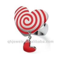 lovely heart shaped enamel pedant rings lollipop style rings girls rings