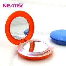 Round led light makeup mirror,plastic makeup case with lighted mirror
