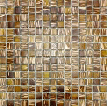 Golden star brown square glass mosaic tile