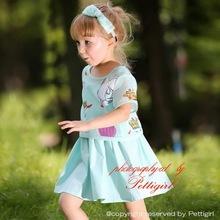 Moda diseño de vestido de manga corta para impreso chaqueta vestidos del arnés niños elegantes traje CS80715-2C
