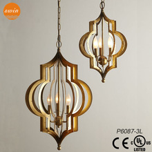 indoor decoration new style big gold cage iron chandelier & pendant light with UL/CE