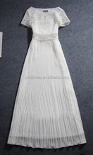 women fashion long smocking chiffon dress with decorative lace