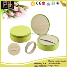Craftship Green Round PU Leater Zipper travel jewelry case