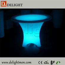Best selling glow up plastic 16 color changing rechargeable round shaped dining tables