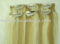 Mixed color 100% indian virgin hair clip on hair extension