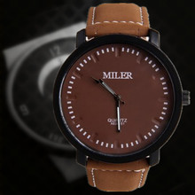 fashionMen's watch pu Leather Sports Military Watches Out Door Hot Sale! Fashion Quartz Style MILER Wristwatch Round Dial Relogs