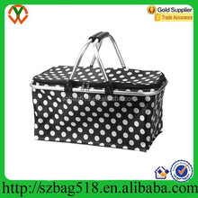 Picnic foldable basket with zipper cover aluminium foil cooler bag