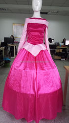 Sleeping Beauty Princess Aurora Costume Adult long Pink Dress with petticoat