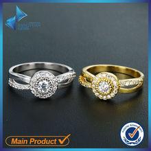 Elegant fashion jewelry couple platinum and 14k gold rings