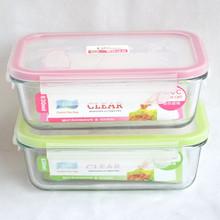 Lanches e frutas manter a caixa fresca coreano lancheira vidro resistente ao calor vidro de embalagem de alimentos para forno de microondas salada de vidro tigela