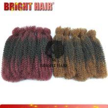 Japan kanekalon blending synthetic hair bulk 14 inch afro kinky hair bulk