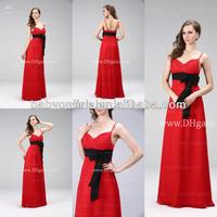 2013 Cheap Chiffon Spaghetti Pleat Chiffon Bow Floor Length Long Prom Dresses 5N2A5500