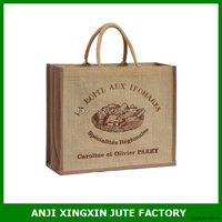 wholesale cheap custom reusable foldable Jute women fashion tote gift shopping bag with logo