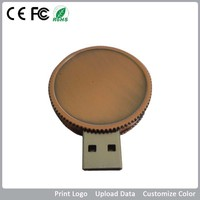 Novelty round bronze usb flash disk, flash memory from 128MB-64GB