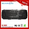 USB LED backlit keyboard, Luminous gaming keyboard with 3 colors backlight