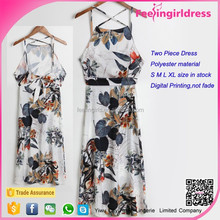 Newest style floral printed chiffon two peices 2015 summer maxi dress