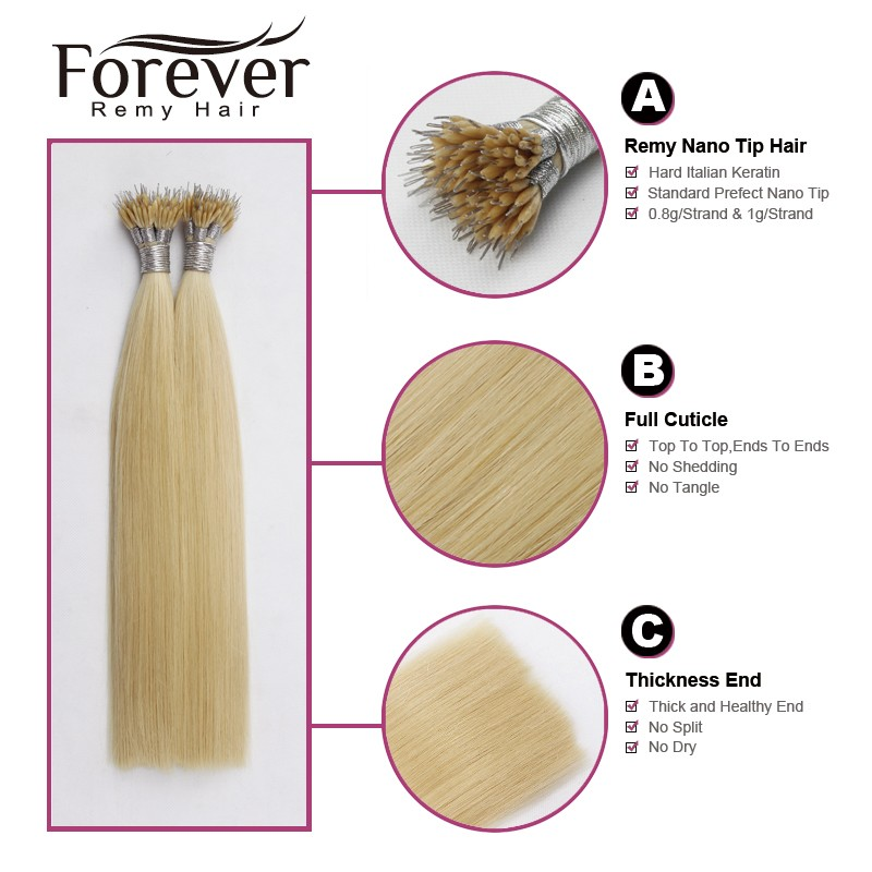 Forever Wholesale Remy Human Hight Grade Nano Tip Hair Extensions 1g