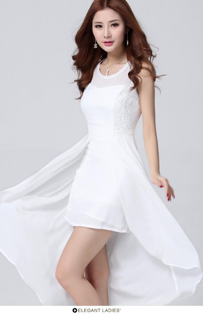 أزياء جديدة وصول المرأة لباس الصيف 2015 طرف فستان طويل من الشيفون الملون