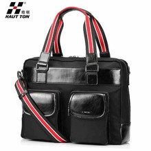 DB182 men's laptop messenger leather tote bag with web buckle straps