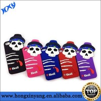 Wholesale silicon rubber cover for iPhone 6 skull design