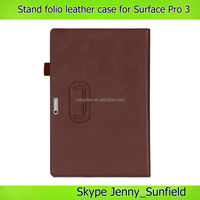 Tablet case cover Pu stand Slim folio Leather case for microsoft surface Pro 3, For Microsoft Surface Pro case leather