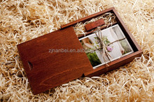 Rustic dark stain color sliding lid wooden keepsake box for usb and photos