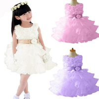 2014 New Fashion Baby Girls Kids One Piece Tutu Bowknot Princess Party Dress Flower 2-10 years White 20073