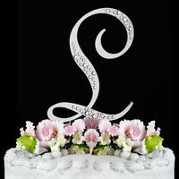 Diamante Rhinestone Letter Cake Topper Wedding Birthday Anniversary Party