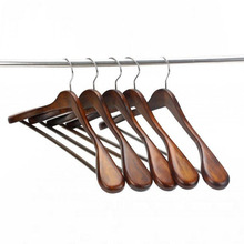 Walnut/ Natural Deluxe Wooden Wide Hanger for Coats and Garments