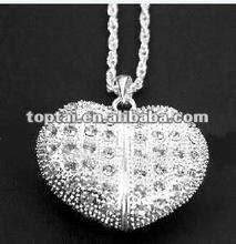 Heart love wonderful gift necklace crystal usb flash drive, 1G/2G/4G/8G/16G/32G/64G