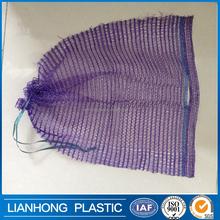 Low price mesh drawstring bag for firewood, durable strong pe mesh bag with drawstring, cheap mesh drawstring bag