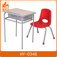 Seat/back is made of PP plastic cheap school desk and chair set