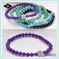 SN0022 wholesale round stone stretch bracelet with shamballa bead
