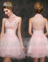 S1123 Princess Pink Beading Empire Oraganza High Neck Short Homecoming Dress