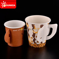 Sunkea paper coffee cup with handle, disposable paper cups