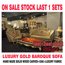 2015 last big discount on sale stock royal gold 18th baroque antique carved luxury classic living room villa sofa 1+2+3 one set