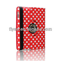 For Apple iPad 5 Air 360 Degree Rotating PU Leather Case Cover With Swivel Stand - red Polka Dot