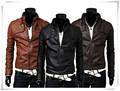 Nuevo estilo de hombre fresco PU Leather Jacket Coat motocicleta estilo punky delgado chaqueta