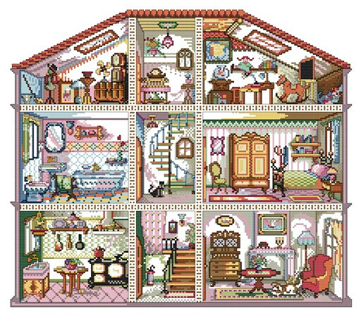 Вышивка дома русские дома