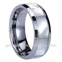 Fashionable Tungsten Shell inlaid polished shiny Ring, Seashell Ring From China