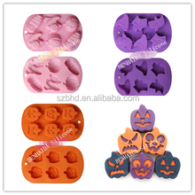 6 Cavity Pumpkin and Witches Ghost Chocolate Cake Mold for Halloween