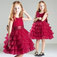High Quality Girls Christmas Party Wear Dress Top Sale Girls Layered Red Gown For Children