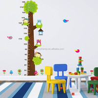 New Arrival Removable Owl Tree Kids Height Growth Chart Wall Sticker For Kids Room Decor