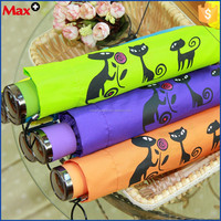 Lovely japanese style candy color 3 fold manual cat umbrella