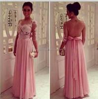 High quality lace appliqued sheet back party dress long sleeve velvet evening dresses