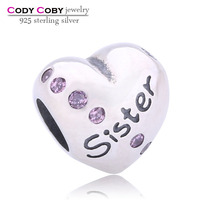 Sister Heart Shape Charm Bead Family & Friends 925 Sterling Silver Charms with Pink Stones Fit European Fashion Jewellery Turkey