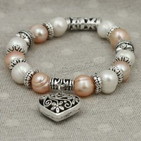 gift packing Hottest sell beaded pearl bracelet with heart