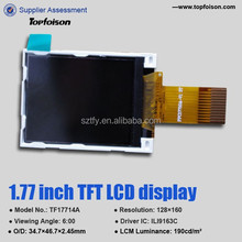 Hot selling Topfoison 1.77inch TFT LCD Sample is available with resistive touch panel for consumer electroinics