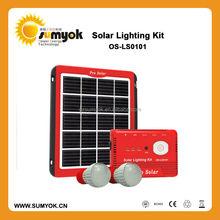 2015 Portable Mini Solar outdoor System, 5W Solar LED Lighting Kits for home using
