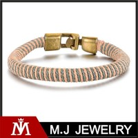 2015 hot sale stainless steel jade leather mens handmade bracelet